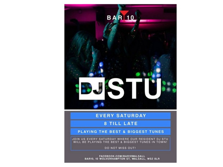 DJ Stu every Saturday Night @ Bar 10 Walsall