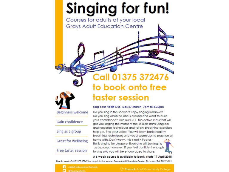 Adults: Singing for Fun evening classes in Grays with free taster session offer