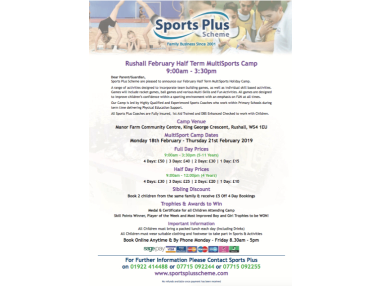 Manor Farm Multi-Sports Camp with Sport Plus Scheme