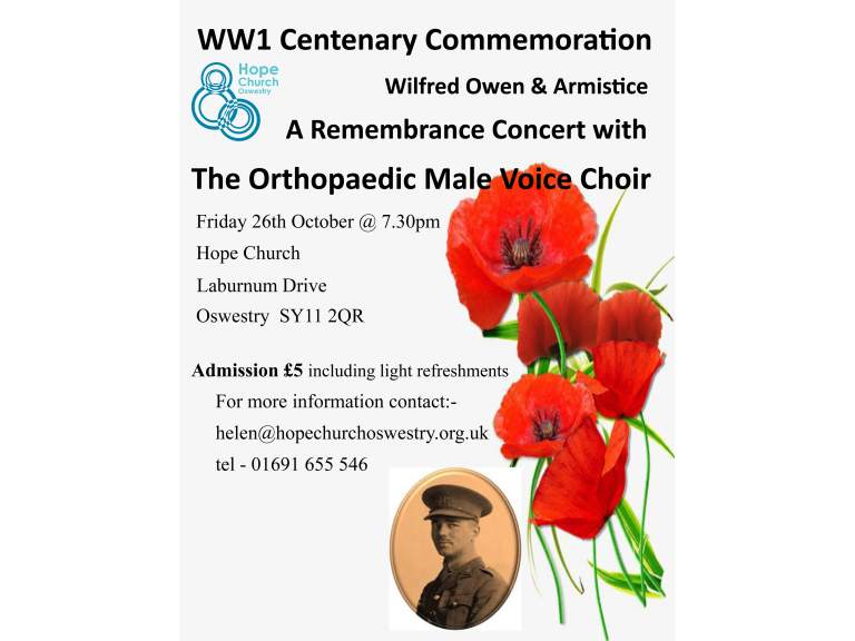 Wilfred Owen & Armistice remembrance concert with The Orthopaedic Male Voice Choir