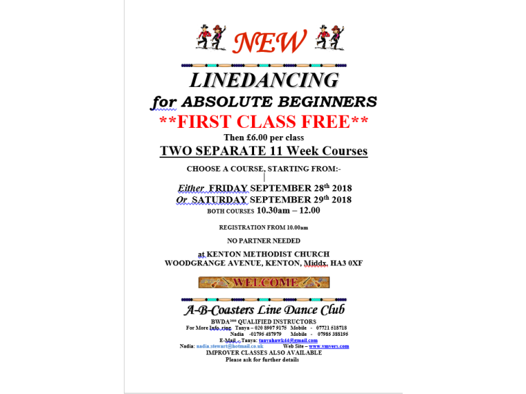 New Absolute Beginner Line Dance Classes