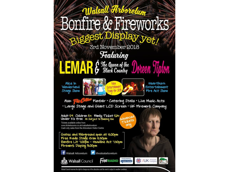 Walsall Arboretum Bonfire & Firework Display 2018