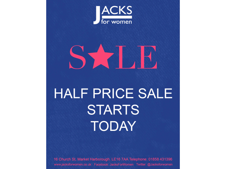 50% OFF SALE NOW ON at Jacks For Women!