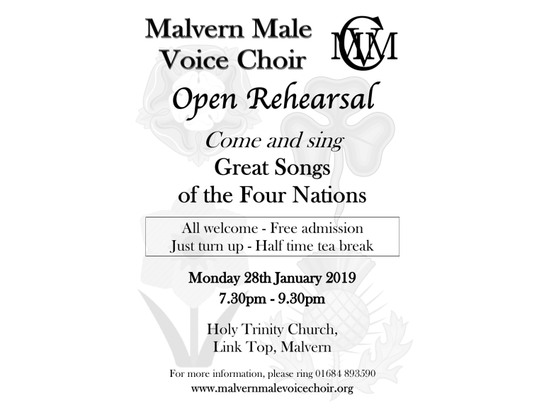 Open rehearsal with Malvern Male Voice Choir