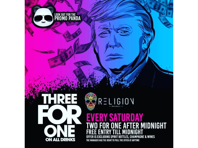 Three for One Every Saturday @ Religion Walsall