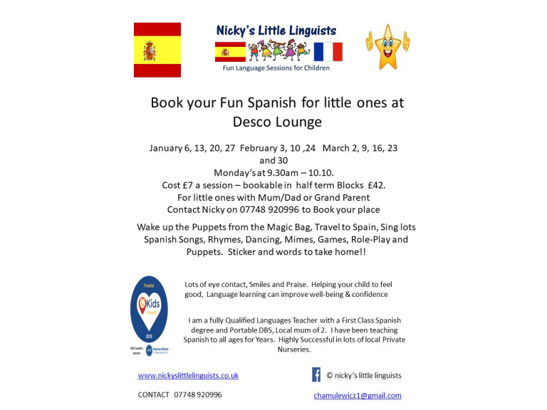 Nicky's Little Linguists,  Spanish at the Desco Lounge, Shirley