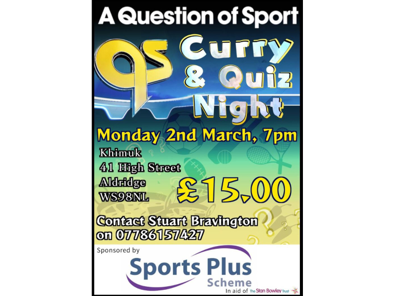 Charity Curry and Question of Sport Quiz Night