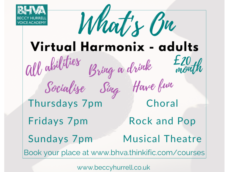 Check out what ONLINE ADULT SINGING CLASSES we've got on this week !!!