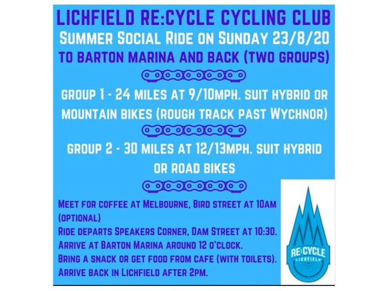 Summer Social Ride 🚲  - Lichfield Re:Cycle Cycling Club
