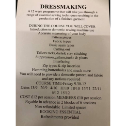Dressmaking course at Helen's Haberdashery