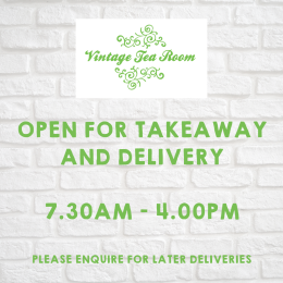Delivery and Takeaway Now Available at Vintage Tea Room