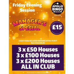 Manager's Special at Apollo Bingo