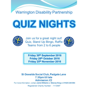 Warrington Disability Partnership's Monthly Quiz