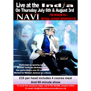 The World's No 1 Michael Jackson Impersonator returns to India Restaurant, Sudbury