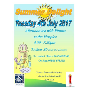 Rossendale Hospice Summer delight Afternoon tea with Pimms