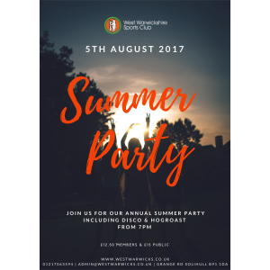 Summer Party 2017 At West Warwickshire Sports Club