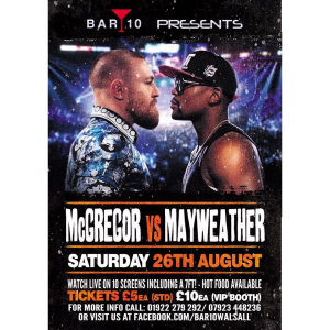 McGregor vs Mayweather live on screen at Bar 10 Walsall
