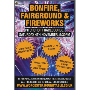Bonfire, Fireworks and fairground