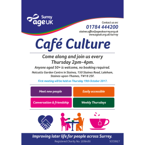 NEW WEEKLY SOCIAL GROUP 'CAFÉ CULTURE' LAUNCHING IN STAINES