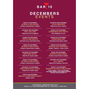 Fantastic December Events @ Bar 10 Walsall