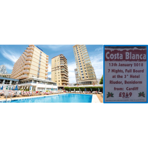 Shake off the January Blues for £249pp.....7 Nights Costa Blanca - Riudor Hotel, Benidorm