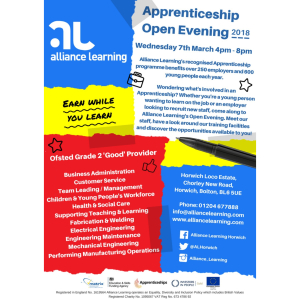 Alliance Learning Apprenticeship Open Evening 2018