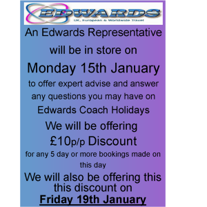 EDWARDS COACH HOLIDAYS  IN STORE WITH OFFERS