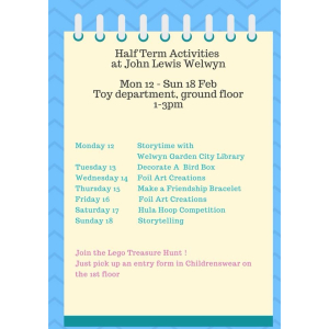 Half Term Activities at John Lewis Welwyn Garden City