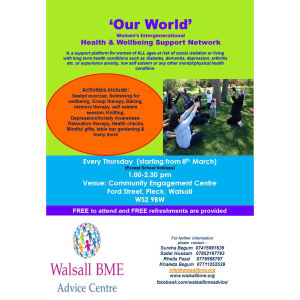 Our World Ladies Group Womens inter-generational Health & Well-being Support network.