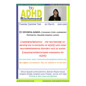 ADHD Richmond free  talk on ADHD & Challenging Behaviour