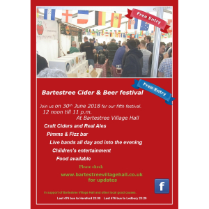 Bartestree Cider & Beer Festival - Saturday 30th June 2018