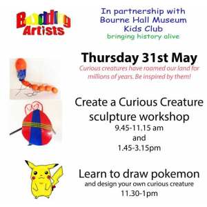 It's Curious Creatures and Pokemon at Bourne Hall Museum Kids Club with Budding Artists @Jopaintbrush1