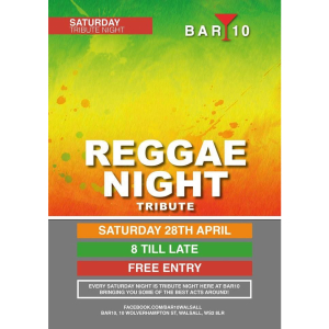Reggae Tribute Night @ Bar 10 Walsall with Mikey Mike