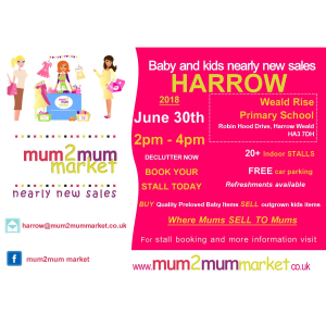 Mum2mum market nearly new baby & kids sale – Harrow – Sat 30th June 2018