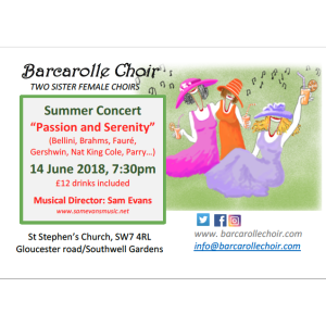 "Barcarolle Choir Summer concert: ""Passion and Serenity"""