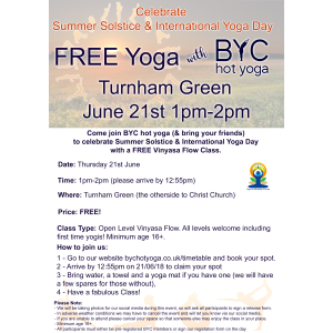 FREE outdoor Vinyasa class for Summer solstice & International yoga day