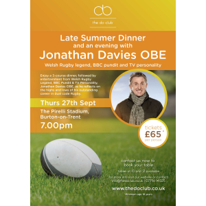 Late Summer Dinner and an evening with Jonathan Davies