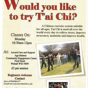 Central Tai Chi class in Walsall
