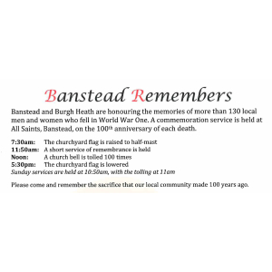 Banstead Remembers – honouring locals #Banstead men and women who fell in WW1 @BansteadGuild