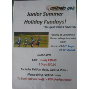 Junior Summer Holiday Fun Days @ Ultimate Golf