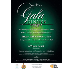 Gala Dinner in aid of WPH Teenage Mental Health Provision @ Walsall Town Hall
