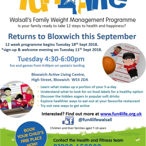 Fun4Life - Walsall's Family Weight Management Programme at Blowich Active Living Centre. Tuesdays