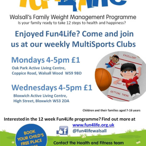 Fun4Life (Walsall's Family Weight Management Programme) MultiSports Club at Bloxwich ALC