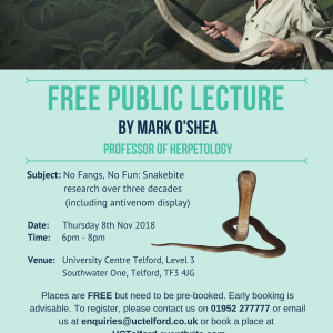 Free public lecture by Professor Mark O'Shea