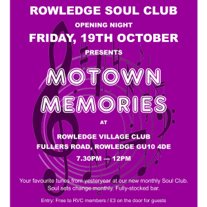 Motown Memories at Rowledge Soul Club