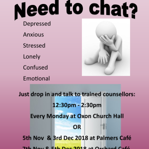 Drop in for a chat with trained counsellors