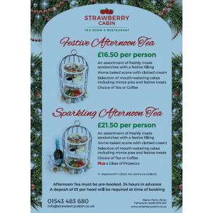 Festive or Sparkling Afternoon Tea with The Strawberry Cabin