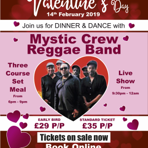 Valentine's Day Dinner & Dance with Mystic Crew Reggae Band