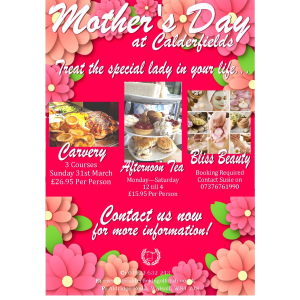 Afternoon Tea at Calderfields this Mother's Day!