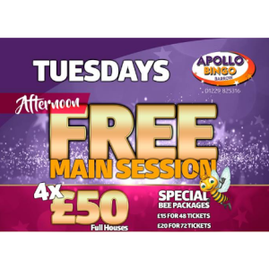 Tuesday Afternoon Free Main Session at Apollo Bingo